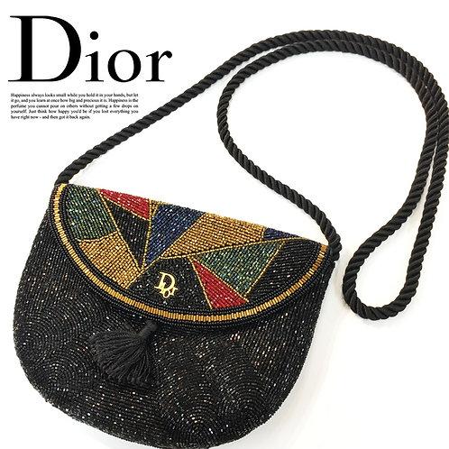 【VINTAGE】Christian Dior ブロックカラー ビーズショルダーポシェット / 未使用品
