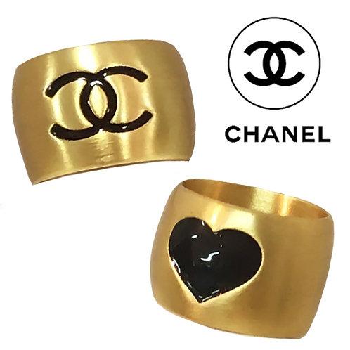 CHANEL / シャネル ココマーク&ハート Wフェイス リング 指輪 #13 ゴールド