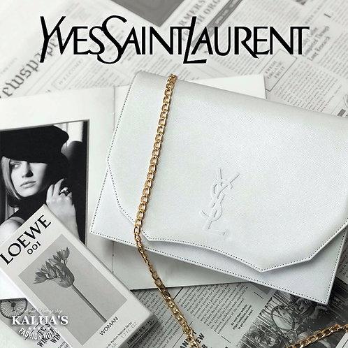 Yves Saint Laurent/ イヴサンローラン BIGロゴカスタムチェーン2WAYバッグホワイト