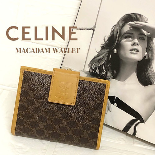 CELINE/セリーヌマカダム柄二つ折りコンパクト財布
