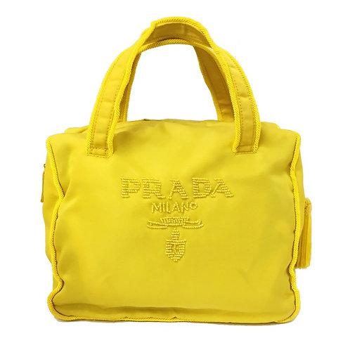 PRADA / プラダ ロゴビーズ タッセル付ハンドバッグ イエロー