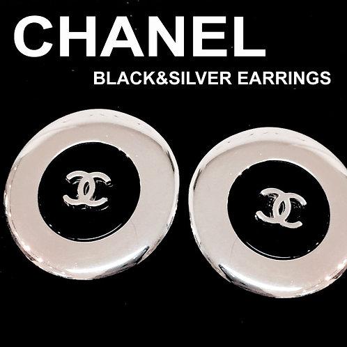 CHANEL / シャネル バイカラー サークルイヤリング ブラック×シルバー