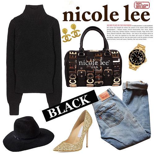 【LA SELECT】Nicole Lee U.S.A. / BIGプレート2wayボストン BK