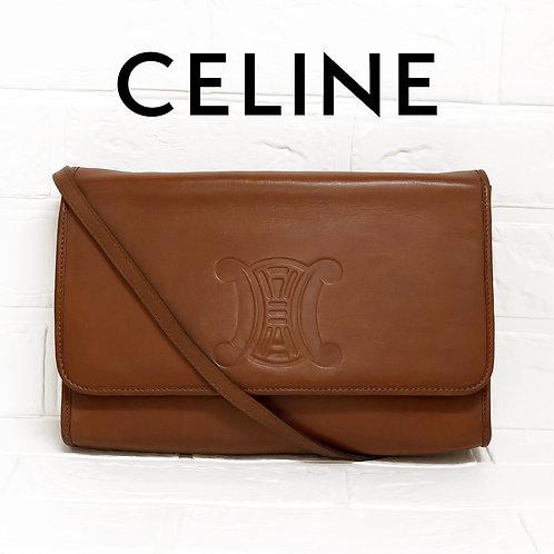 CELINE/セリーヌブラゾン刻印オールレザーショルダーバッグ