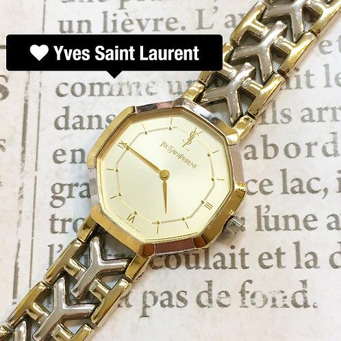 Yves Saint Laurent / イヴサンローランバイカラーYベルト腕時計