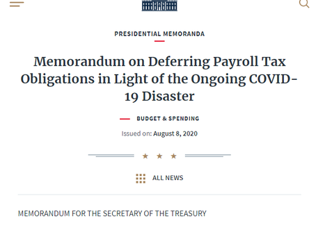 Executive Order on Payroll Tax: Waiting For Guidance
