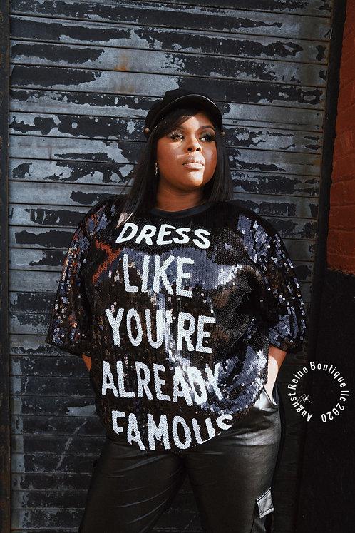 """""""I'm Famous"""" Sequin T-Shirt Dress"""