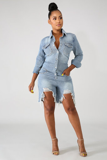 Denim Shred Romper