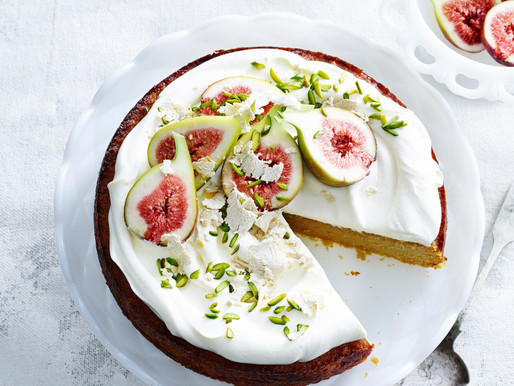 Almond & orange cake with figs and pistachios