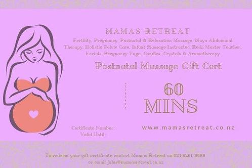 Postnatal Massage (60 mins) - Gift Certificate