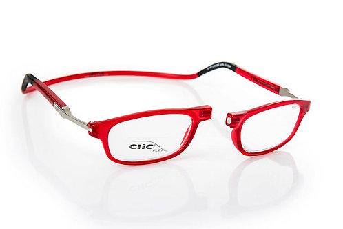משקפי קריאה CLIC FLEX Rectangular Frosted Red