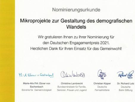 Im Rennen um den Deutschen Engagementpreis 2021