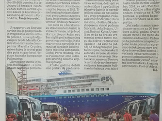 TANJA NOVOVIC, CRUISE ACTIVITIES COORDINATOR TALKING TO DNEVNE NOVINE: