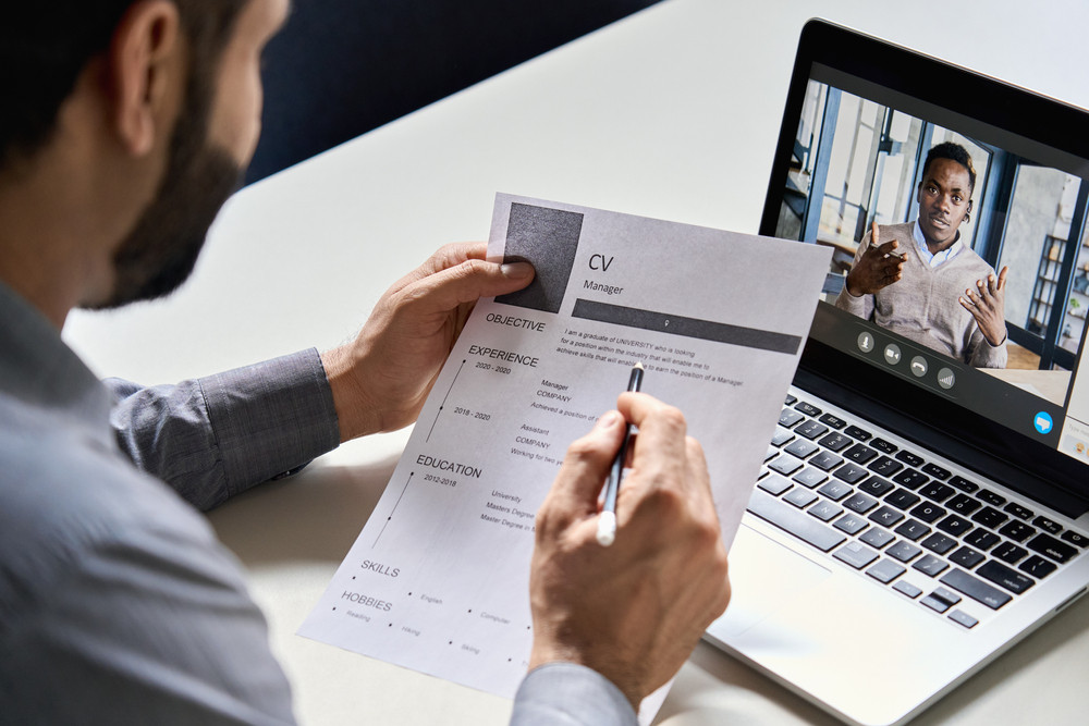 HR professional conducting a virtual interview