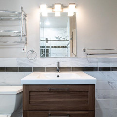 This sink, vanity, tile and mirror insta