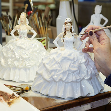 Gypsy Bride Butterflies doll by Royal Staffordshire being painted