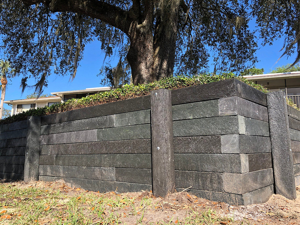 Retaining Wall with BestPLUS Brown 6x6 Recycled Plastic Landscape Timbers