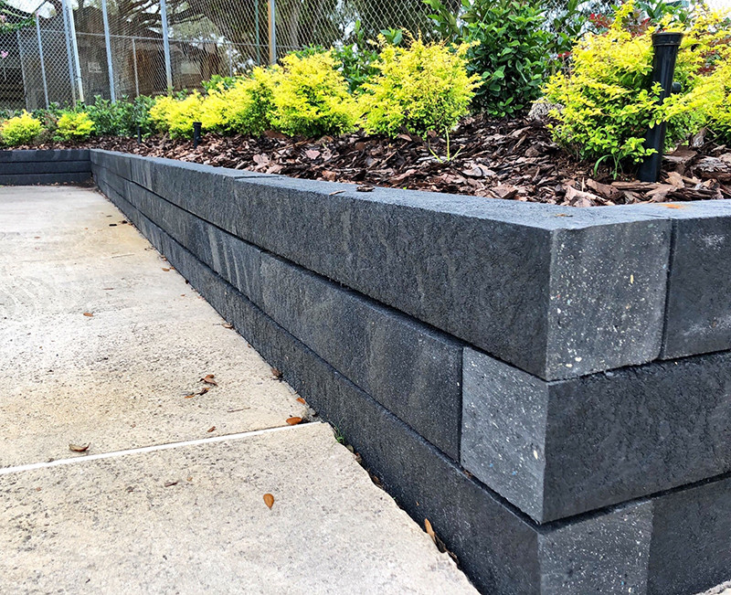 Retaining Wall with BestPLUS Black 6x6 Recycled Plastic Landscape Timbers