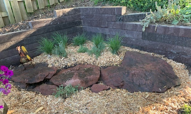 Garden Retaining Wall with BestPLUS Brown 6x6 Recycled Plastic Landscape Timbers