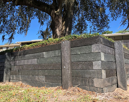 Retaining Wall Made with Brown 6x6 Recycled Plastic Landscape Timbers