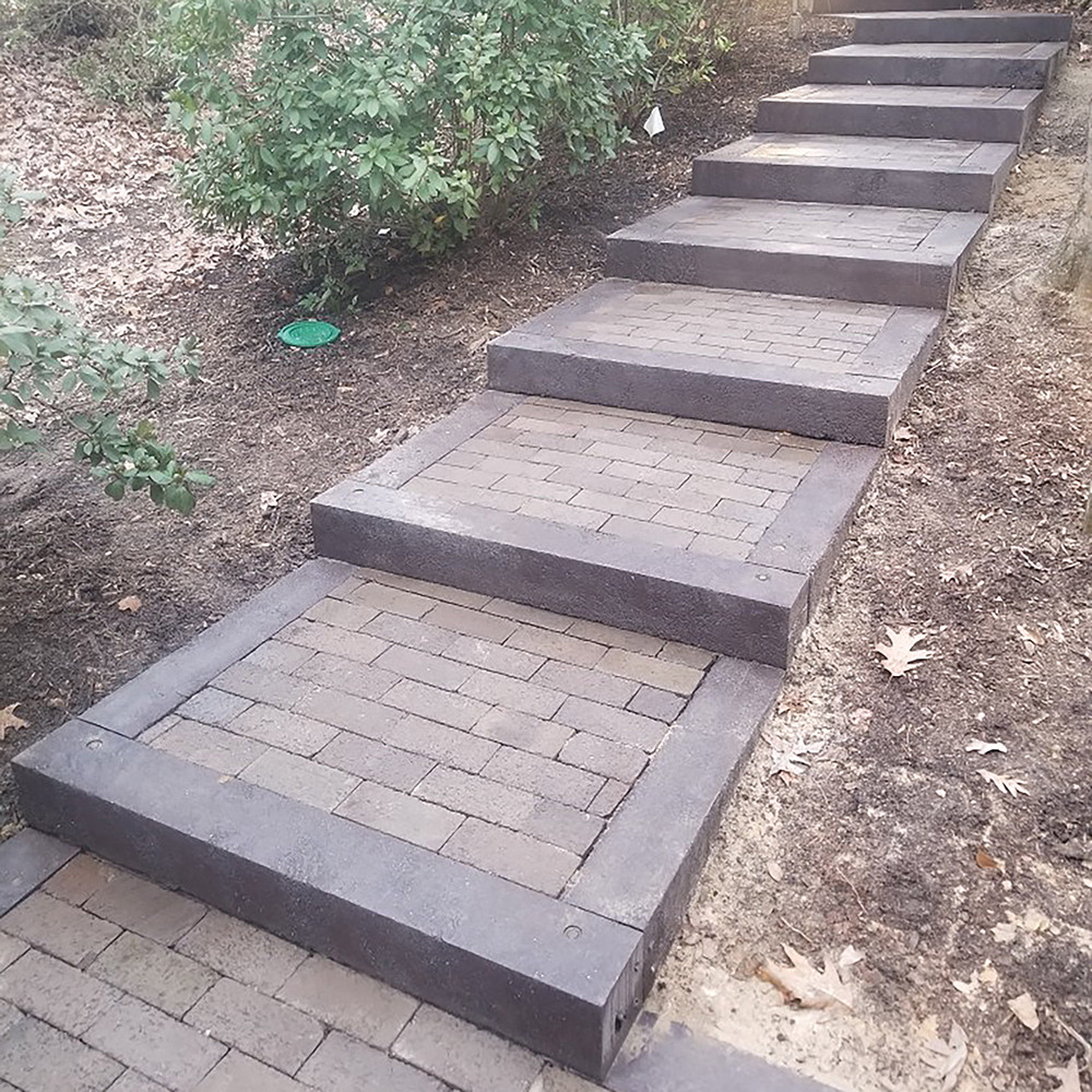 Outdoor Steps Bordered with BestPLUS Brown 6x6 Recycled Plastic Landscape Timbers