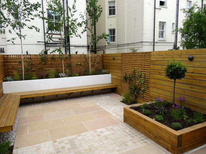 Corner bench & raised beds for planting