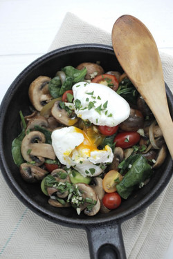 Mushroom + Spinach Hash + Eggs
