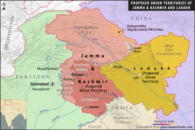 New map of Jammu and Kashmir with two newly formed union territories