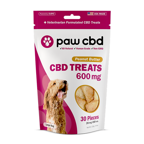 Pet CBD Oil Treats for Dogs PEANUT BUTTER - 600 MG - 30 COUNT