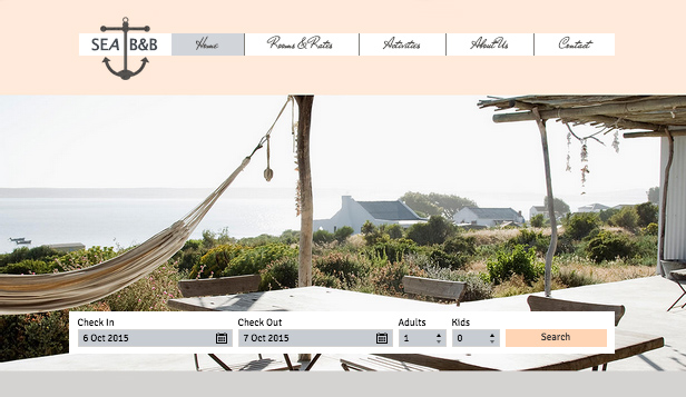 Hotéis website templates – Hotel a Beira Mar