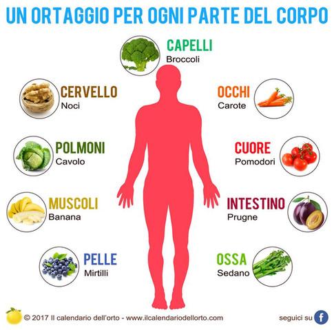ortaggi per ogni parte del corpo