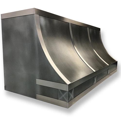 (1) Dark Zinc Range Hood - Brushed Stainless Straps