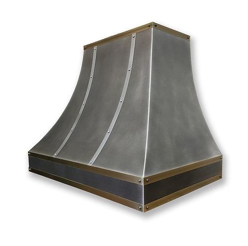 (16) Modeled Patina Zinc Range Hood - Zinc and Brass Accents