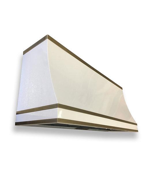 (10) Gloss White Powder Coated Range Hood - Dark patina Brass Straps