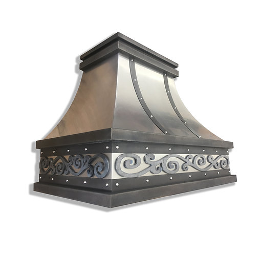 (18) Non Directional Stainless Range Hood - Hot Rolled Steel and Zinc Accents