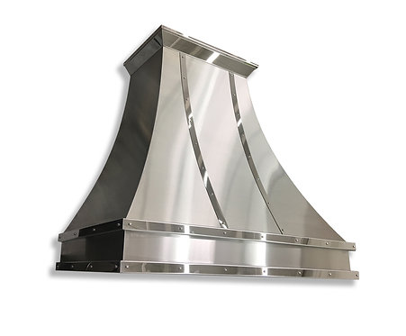 (8) Brushed Stainless Range Hood - Mirrored Straps and Crown