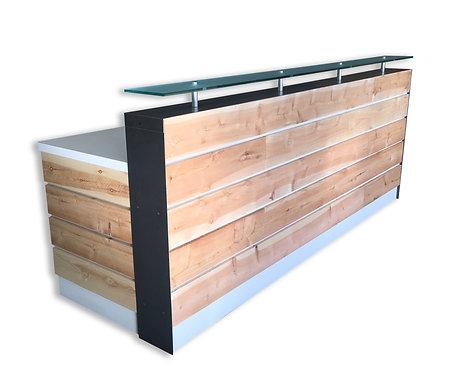 White Memphis Reception Desk W/ Dallas Slats and Glass Riser