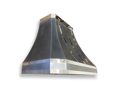 (21) Zinc Range Hood - Mirrored Accents