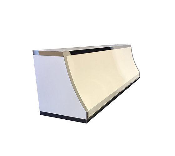 (20) Gloss White Powder Coated Range Hood - Mirrored SS Straps