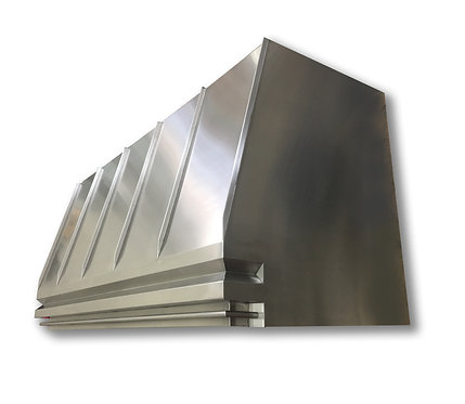 (7) Brushed Stainless Range Hood - Standing Seams and Pot Rail