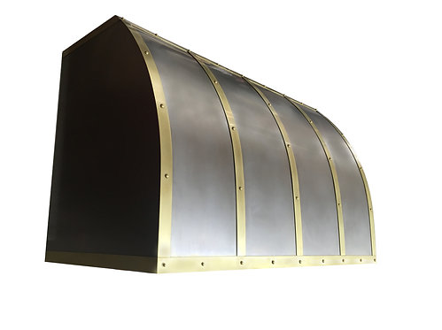 (11) Non Directional Stainless Range Hood - Light Patina Brass Straps