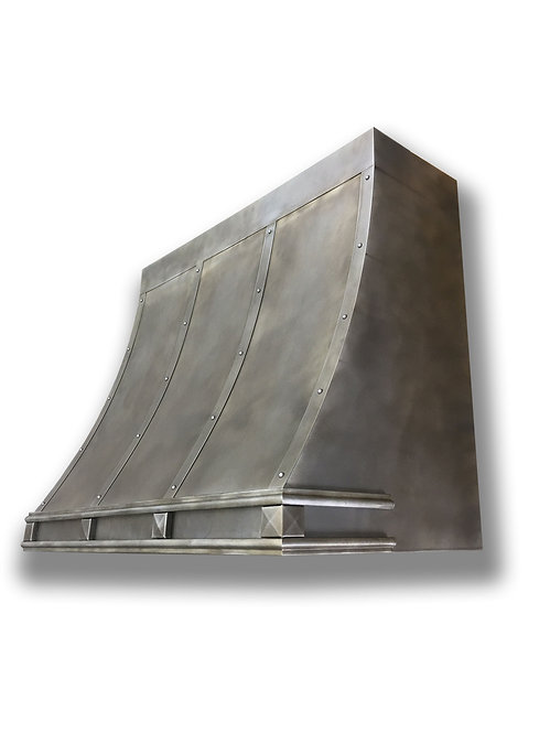 (14) Modeled Patina Zinc Range Hood - Zinc Accents