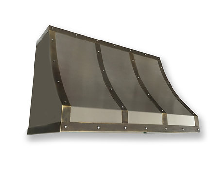 (17) Non Directional Stainless Range Hood - Dark Patina Brass Straps