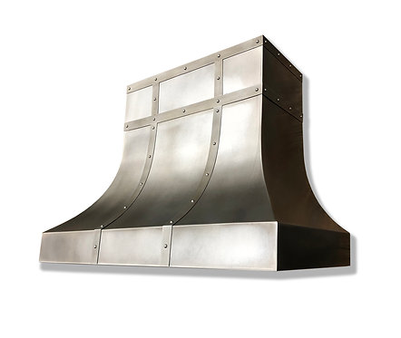 (24) Modeled Patina Zinc Range Hood - Zinc Accents
