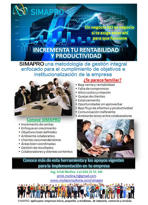 SIMAPRO, incrementa tu rentabilidad y productividad en un periodo de 6 meses, conoce los apoyos para ingresar empresas micro, pequeñas y medianas.