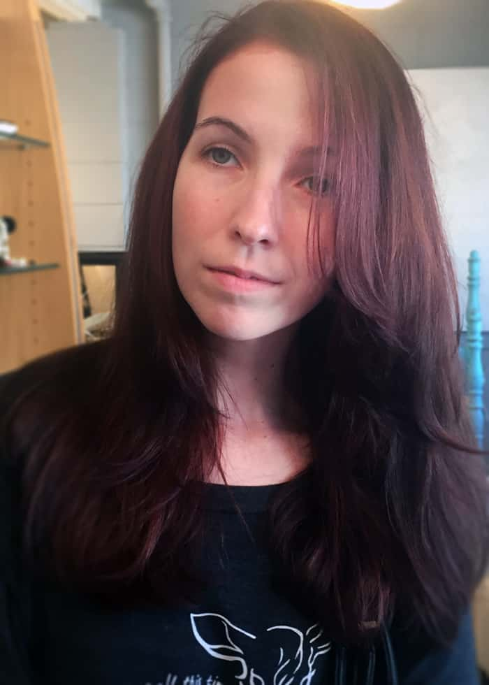 Haircut and deep red color
