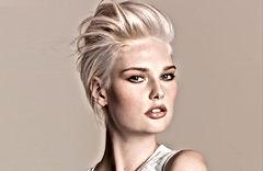 Blonde bombshell modeling fresh makeup.