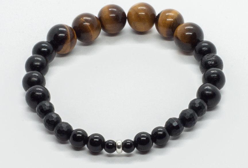 Bracelet Oeil de Tigre / Agate Noire / Ébène noir