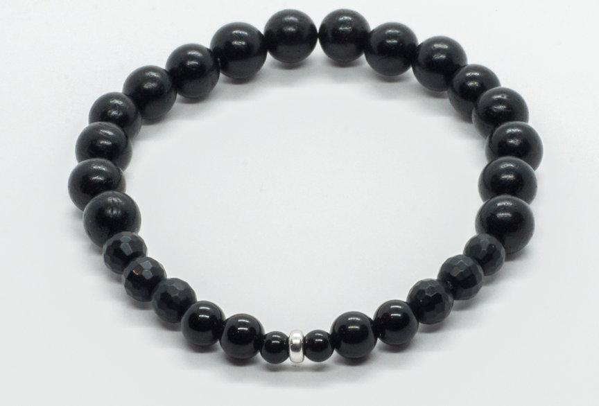 Bracelet Bois Ébène Noir & Agate Noire