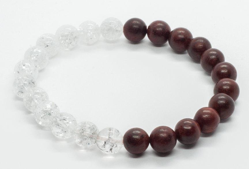 Bracelet Bois de Santal & Cristal de Roche